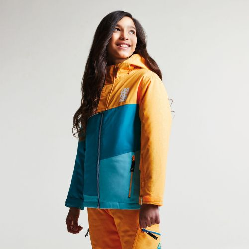 Dare2b KIDS DEBUT SKI JACKET - Orange Burst Texture Sea Breeze Blue